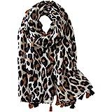 Soudittur Sciarpa Donna Stampa Leopardata Cotone Lungo Grandi Sciarpa Invernale Autunno Stola Foulard 180 * 100cm