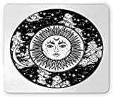 Sun and Moon Mouse Pad, Mystic Tribal Drawing of a Cloudy Starry Night Sky Circle Boho, Standard Size Rectangle Non-Slip Rubber Mousepad, Black Dark Brown and White