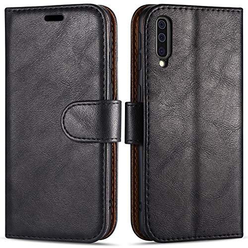 Case Collection Hochwertige Leder hülle für Samsung Galaxy A50 Hülle (6,4