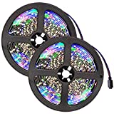 TecTake 5m RGB SMD 3528 LED Stripe Lichterkette Mehrfarbig inkl. Fernbedienung & Netzteil - Diverse Mengen - (2 Stück | Nr. 401564)