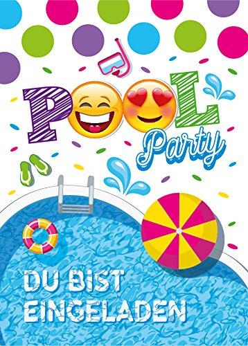 12 Einladungskarten Geburtstag Kinder Schwimmbad für Mädchen Jungen Jungs Einladungen zum Kindergeburtstag Geburtstagseinladungen Set Partyset Kartenset Party