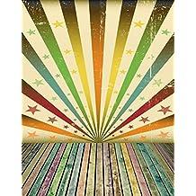 Multicolor Sunbeams Grunge fondo para Photo Studio Star Vintage pared con suelo de madera fotografía fondos Digital 5× 7ft
