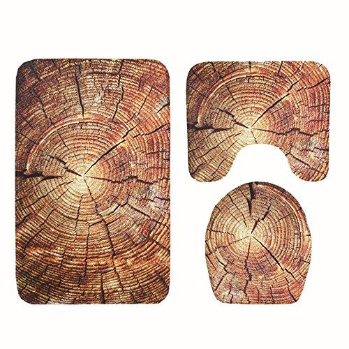 Gjc base bagno moda e set tappetino bagno - stampa 3d barca in legno - copri sedile wc set bagno 3 pezzi,c,45 * 75cm