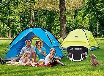 Enclos portable chiot Animaux Enclos Tissu pour Chien, Chat, Lapin & petits animaux, 125x 125x 64cm (Noir, Rouge)