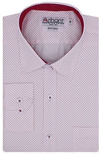 Arihant Men's Long Sleeves Polka Dot 100% Cotton Regular fit Formal Shirt(AR748904_White _Size::44)