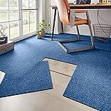 Hanse Home Teppichfliesen- Set Easy Blau meliert, 50x50 cm
