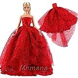 Miunana 1 Robe de Soirée Rouge à Paillettes Habit de Cérémonie pour Barbie