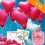 50 HELIUM Herzluftballons Hochzeit pink - KOMPLETTSET aus pinken HERZ Heliumballons, Helium Einwegflasche, Ballonkarten und Ballonschnur zum Luftballons steigen lassen zur Hochzeit - Hochzeitsspiele und Partyspiele