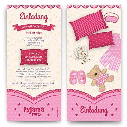 Einladungen (10 Stück) Pyjama Party Geburtstag Übernachtung Einladungskarten