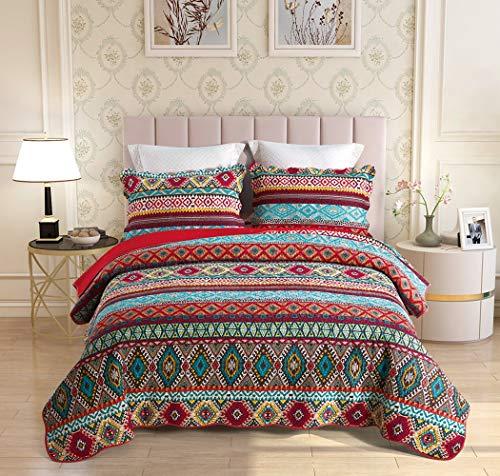 Qucover Tagesdecke aus Baumwolle, Bettüberwurf für Doppelbett, Gesteppte Decke mit Kissen, 230 x 250 cm, Bunt Boho Indischer Stil - 7562883