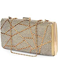 RapidCostore Partywear Designer Ethnic Multipurpose Day to Night and Kitty Parties Evening Embroidered Clutch Purse Sling Bridal Wedding Premium Quality Clutch Handbag Purse For Women Girls Stylish Branded With Handle Sequined Beaded Thread Work With American Diamond By RAPID COSTORE