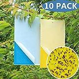 10piezas Azul & Amarillo Trampas de Insectos lados Adhesivo Atrapamoscas para plantas Atrapa Trampa de la Fruta Moscas Blancas Áfidos Minador de pegamento decorativa contra la mosca Fly Bug Trap