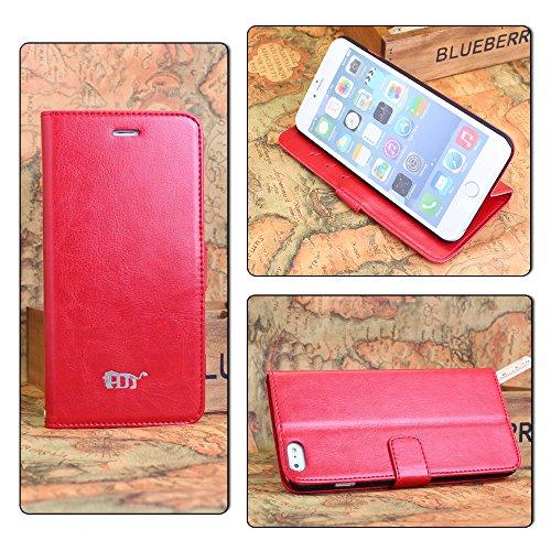 Pdncase iPhone 6 plus Leder Tasche Case Hülle Schaf-Haut Wallet Style Schutzhülle für iPhone 6 plus Farbe Weiß Rot
