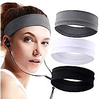 SRXWO - Fascia per capelli da donna, 3 pezzi, fascia elastica in cotone da corsa, fascia antiscivolo per capelli, fascia…