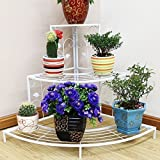 #7: Ivory (Cream) Floral Design Metal Step Style 3 Tier Corner Shelf for Flower Pots, Planters Display Stand / Shoe Rack