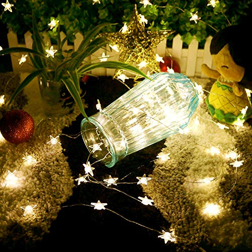 Easternstar stringa luci filo rame 10m 100 led stella catena luminosa interni ed esterno decorazione con spina per natale camera festa bianca calda