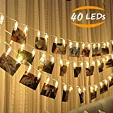 JESWELL Guirlande Lumineuse Photo 40 Led - 4.2 Mètre Batteries Alimenté Led Chaîne Light Photo Pour Décor Mariage Mural Chambre, Afficher Photo, Pictures, Artwork, Décor La Noël, Anniversaire, Saint Valentin (Blanc Chaud)...