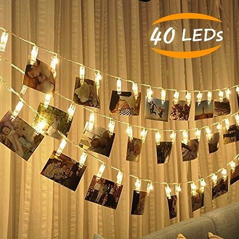 JESWELL LED Foto Clips Lichterkette, 40 Photo Clips, 4,4 Meter/ 14,4 Füße, Batteriebetriebene Stimmungsbeleuchtung Dekoration für Zuhause, Party, Weihnachten, Dekoration, Hochzeiten, ideal für hängende Bilder, Notizen, Artwork (Warmweiß)