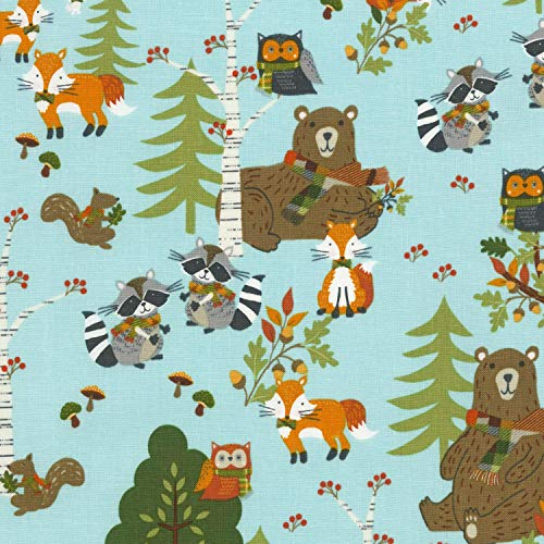 Timeless Treasures Woodland Forest Stoffe, 100% Baumwolle TT178 Forest Animals Blue -