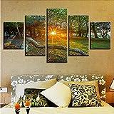 gwgdjk HD Printing Artworks Pittura Decor 5 Pezzi Park Woods Sunrise Sunshine Scenery Art Poster Modular Pictures Tela Modern Wall-30X40/60/80Cm,Without Frame