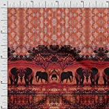 Soimoi Orange Satin Seide Stoff Elefant Platte Stoff