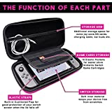 Nintendo Switch Case, Keyye Portable Waterproof Travel Carrying Pouch with Hard Protective Shell and Larger Storage Space for 10 Game Cartridges, Switch Console and Other Accessories,Pink