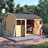 12x8 Wooden Shed Workshop - Tongue and Groove Reverse Apex Shed Workshop 12ft x 8ft