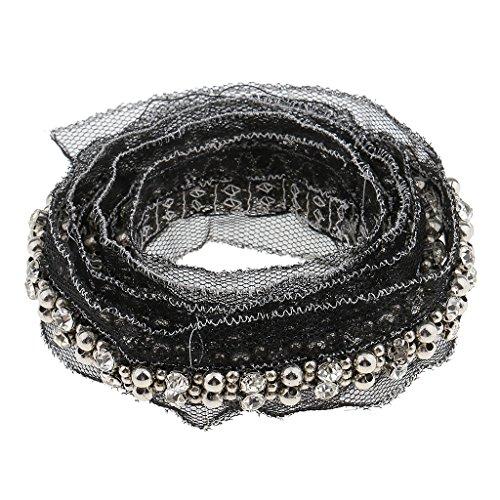 Gazechimp 1 Yard Kristall Perlen Spitzenborte Blumen Spitzenband Zierband Borte Hochzeitsdeko lace...