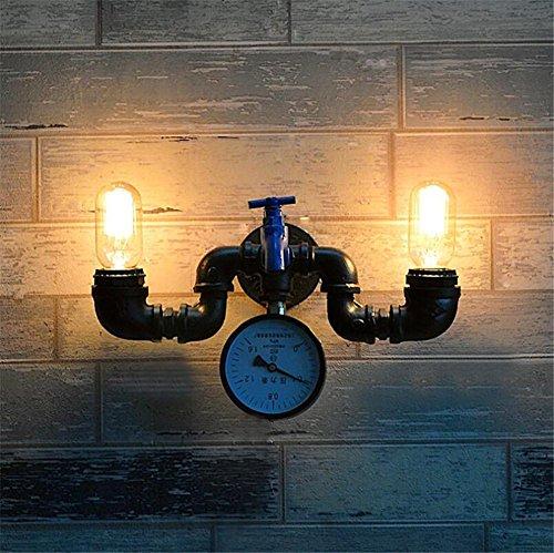 BIUODY Lampada da parete Vintage Industrial Lights parete Lampada da parete del riparo della parete camera da letto Tubi comodino Corridoio Bar Caffè Ristorante Scala doppia testa in ferro battuto Acqua lampada da parete rubinetto blu
