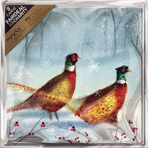 Pack of 8 Bright Pheasants MNDA Fairdeal Charity Christmas Cards -