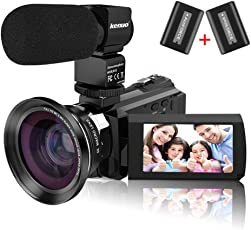 """Kenuo 4K Camcorder, 48MP Portable Ultra-HD 60FPS WiFi Digital Video Camera 3.0"""" Touch Screen IR Night Vision Camcorder with External Microphone and Wide Angle Lens (Camera)"""
