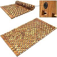 Badvorleger Badematte Badvorleger Holz- 80 x 50 cm ✔FSC®-zertifiziertes Akazienholz ✔ rutschhemmende Gummistopper