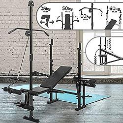 Banc de Musculation   avec Extension Jambe / Butterfly / Curl Pupitre / Poulie et Support pour Haltères, Pliable & Réglable   Station de Musculation, Fitness