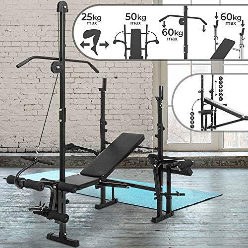 Panca multifunzione - portabilanciere / lat machine / piegamento delle gambe / stazione butterfly e panca curl, pieghevole & regolabile - panca pesi da palestra, fitness