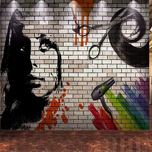 Mural PapelPintado Etiqueta De La Pared Envío Gratis Papel Tapiz De Ladrillo Personalizado Pared 3D Pintado A Mano Peluquería Peluquería Telón De Fondo Pared Papel Pintado Moderno, 200 * 140 Cm