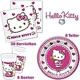 Hello Kitty Geburtstag Tischgeschirr Party-Deko 36-Teiliges Set, Teller, Servietten und Becher Kindergeburtstag Kindergeschirr für 8 Personen