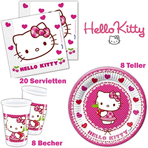 Hello Kitty Geburtstag Tischgeschirr Geschirr-Set 36 Teilig Set Teller Servietten und Becher Kindergeburtstag Kindergeschirr 8 Personen