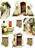 Reispapier A4 - Mediterran Strasse, Motiv-Strohseide, Strohseidenpapier, Decoupage Papier