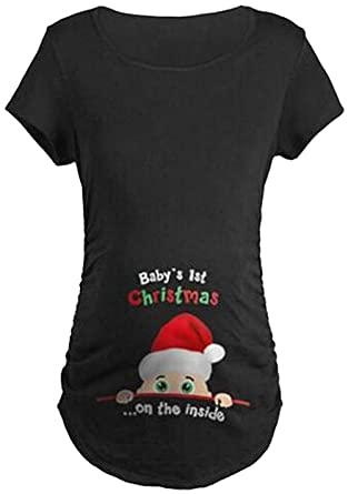 Maternity Cute Funny Tee Short/Long Sleeve Christmas Pregnancy ...