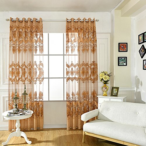 MORESAVE Floreale Tulle per porte e finestre cortina Drape Pannello sciarpa pura Mantovane 100CM * 250CM