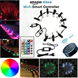 SUBOSI Bodeneinbauleuchten Arbeitet mit Alexa, RGB LED Einbaustrahler DC12V Ø31mm 0.6W LED Boden Wifi Wireless Smart Phone LED Bodeneinbauleuchten 10er Full Kit