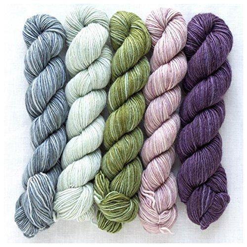 Manos del Uruguay Silk Blend Fino Minis Set Fb. Lydia, 100g (5x20g) Wolle mit Seide zum Stricken, Merino Extrafine + Seide, handgefärbt mit wunderschönem Farbverlauf -