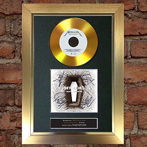 The Autograph Collector # 78 gold Disc Metallica – Death Magnetic Autogramm signiert Reproduktion A4 Print (Autogramm-rahmen)