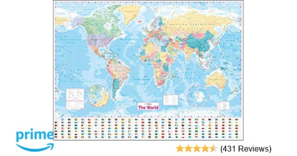 Map Of The World Picture.Collins World Wall Laminated Map Amazon Co Uk Collins Maps