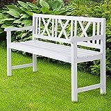 Miadomodo Panca da giardino bianco in legno di abete