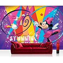 Papel Pintado Fotográfico Premium Plus pared Foto pintado mural pintado de Disney–Papel pintado Disney–Mickey Mouse–Minnie (Daisy Duck) dibujos animados Comic–Papel pintado infantil bailarinas, multicolor–No. 312, mehrfarbig, lila, Fototapete 254x184cm | PREMIUM Blue Back