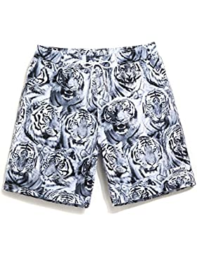 HAIYOUVK Resort Hot Springs Beach Shorts Male Quick Dry Large Size Animal Print Loose Large Size Casual Pants...