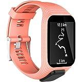 KOBWA Tomtom Uhrenarmband, Silikon Ersatzband Sport Armband für Tomtom Runner 2 / Runner 3 / Spark 3 / Abenteurer/Golfer 2 Sport GPS Running Smartwatch