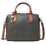 Fossil Fiona Satchel Schwarz Weiß Damen Marke Handtasche Tasche Schultertasche Umhängetasche Umhänge Taschen Modern