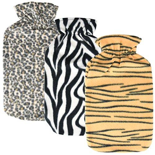 Asab Wärmflasche, gestrickt Weich Warm Kuschelig Touch groß passen 2Liter Kapazität Fläschchen Zebra Tiger Leopard Muster Print–zufällige